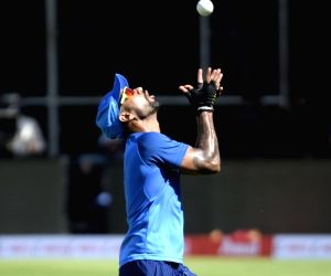 India's Shikhar Dhawan during a practice session ahead of the final T2oI match against South Africa at the M. Chinnaswamy Stadium, in Bengaluru on Sep 21, 2019.