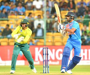 India's Shikhar Dhawan in action during the 3rd T20I match between India and South Africa at M. Chinnaswamy Stadium in Bengaluru on Sep 22, 2019.