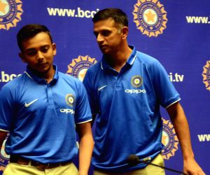Rahul Dravid, Prithvi Shaw during a press conference