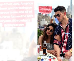 Indian actress Priyanka Chopra Jonas has thanked America for being generous to her. Priyanka on Thursday posted a throwback photograph on her Instagram story of herself along with her pop singer husband Nick Jonas to celebrate the 4th of July. (Photo