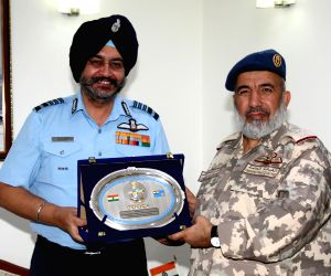Indian Air Force chief Air Chief Marshal B.S. Dhanoa with the Chief of Qatar Armed Forces, Maj. Gen. (Pilot) Ghanim Bin Shaheen Al Ghanim in New Delhi on June 20, 2018.