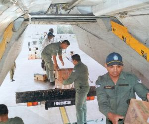 Kerala floods - IAF aircraft being loaded with relief material for flood victims