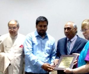Indian American entrepreneur, thought leader and philanthropist Frank F. Islam being welcomed during a programme at Aligarh Muslim University, on Oct 16, 2019.