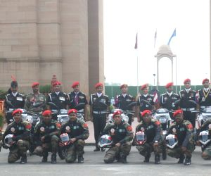 Indian Army bikers celebrating Kargil War victory