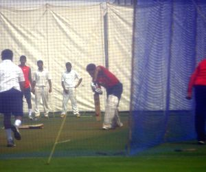 Indian cricketers practising at Wankhede Stadium in preparation of Irani Trophy Cricket match