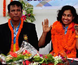 Tripura Sports Minister felicitates Deepa Karmarkar