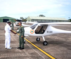 "Indian Navy inducts three microlight ""Garud"" planes to monitor bird activity near the Dabolim International Airport in Panaji on June 7, 2018. Designed and manufactured in Slovenia, ..."