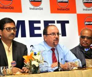 Indian Oil Corporation (IOC) Executive Director Rahul Bhardwaj and IOC Executive Director (Corporate Communications and Branding) Subodh Dakwale during a press conference, in Hyderabad on ...