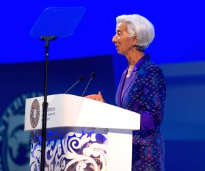 :International Monetary Fund (IMF) Managing Director Christine Lagarde gives a speech during the plenary session of International Monetary Fund (IMF) and World Bank ...