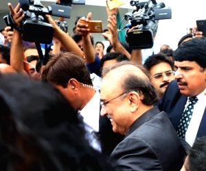 ISLAMABAD, Aug. 13, 2018 - Pakistan Peoples Party's (PPP) Co-Chairperson and former President Asif Ali Zardari leaves the National Assembly after attending the first session of the parliament after ...
