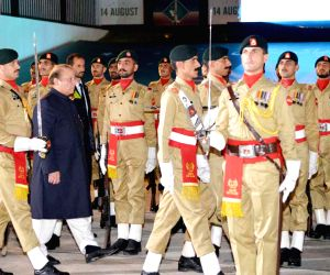 Nawaz Sharif addresses a ceremony to mark Pakistan's Independence Day