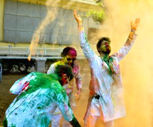 Foreigners celebrate Holi