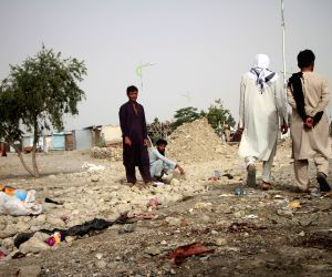 JALALABAD, June 18, 2018 - People gather at the site of an attack in Nangarhar province, Afghanistan, June 17, 2018. At least 15 people were killed and 45 others wounded as an explosion rocked a ...