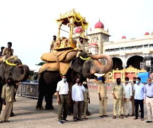 Jamboo Savari elephants rehearsals ahead of Dasara Jamboo savari procession