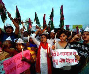 Jan Adhikar Party demonstration against Muzaffarpur shelter home rapes