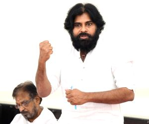 Jana Sena Party chief Pawan Kalyan addresses at a party's meeting, in Andhra Pradesh's Mangalagiri, on May 12, 2019.