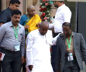 JD(S) supremo HD Deve Gowda at the swearing in ceremony of his son Karnataka Chief Minister H.D.Kumaraswamy in Bengaluru on May 23, 2018.