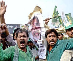 JD(U) demonstrate against Giriraj Singh