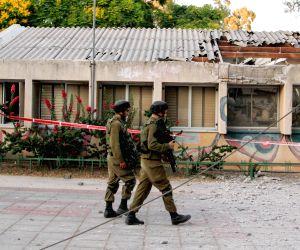 Rocket fired from the Gaza Strip near a shop in Ashdod