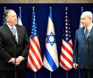 JERUSALEM, Oct. 18, 2019 - The handout photo by Israeli Government Press Office shows Israeli Prime Minister Benjamin Netanyahu (R) meets with U.S. Secretary of State Mike Pompeo in Jerusalem, on ...
