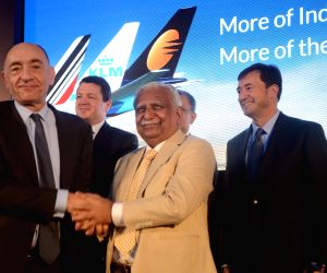 Jet Airways Chairman Naresh Goyal and Air France–KLM Cargo CEO Jean-Marc Janaillac during the signing of Memorandum of Understanding (MoU) between Jet Airways and Air France–KLM in Mumbai ...