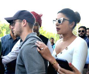 Jodhpur: Actress Priyanka Chopra and her fiance Nick Jonas arrive at Jodhpur airport on Oct 2, 2018. (Photo: IANS)