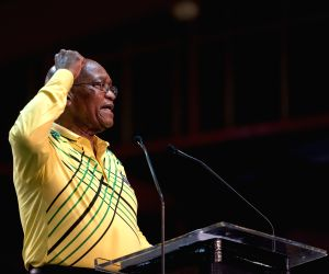 JOHANNESBURG, Dec. 17, 2017 - South African President Jacob Zuma addresses the conference in Johannesburg, South Africa, Dec. 16, 2017. The 54th national congress of South Africa's ruling African ...