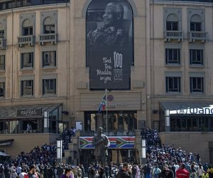 JOHANNESBURG, July 18, 2019 - People attend an event at the Nelson Mandela Square to mark the Nelson Mandela Day, in Johannesburg, South Africa, July 18, 2019. South Africans celebrate the 10th ...