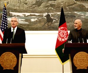 Kabul (Afghanistan): U.S. Defense Secretary Chuck Hagel during a joint press conference with Afghan President