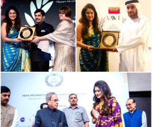 """Kanthi D Suresh, Founder and Editor-in-Chief of Power Sportz, one of the winners of the """"India International Excellence Awards"""".  She received the award from BJP national spokesperson Syed ..."""