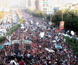 Pakistan Karachi Imran Khan Protest