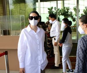 Karisma Kapoor With Son Spotted at Airport Departure