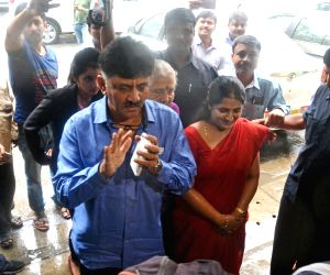 DK Shivakumar arrives to appear before IT department