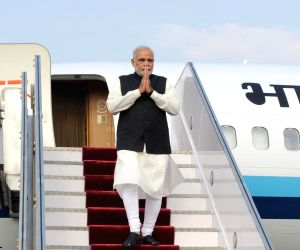 Kathmandu (Nepal): PM Modi arrives at Tribhuvan International Airport