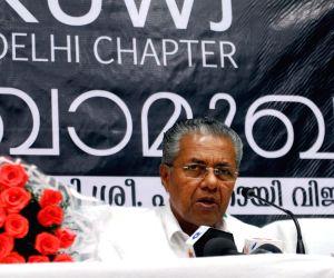 Kerala Chief Minister Pinarayi Vijayan addresses a press conference, in New Delhi on June 18, 2016.