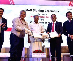 Kerala Government and Nissan Motor Co. Ltd. signs a memorandum of understanding (MoU) in the presence of Kerala Chief Minister Pinarayi Vijayan in Thiruvananthapuram on June 29, ...