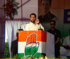 Khumulwng: Congress President Rahul Gandhi addresses during a public meeting in Tripura's Khumulwng on March 20, 2019. (Photo: IANS)