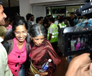 Indians stuck in violence hit Yemen arrive at the Kochi International Airport