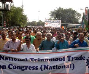 Trinamool trade union demonstrates against national budget 2015-16