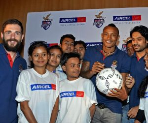 Atletico de Kolkata players interact with students