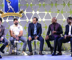 : Kolkata: Former cricketers Sourav Ganguly, Mohammad Azharuddin, Brian Lara, and Carl Hooper with Indian cricketer Rohit Sharma during Jagmohan Dalmiya Annual Conclave in Kolkata on Nov 2, 2018. ...