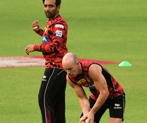 Kolkata Knight Riders' Chris Lynn and Robin Uthappa during a practice session at Eden Gardens in Kolkata on April 18, 2019.