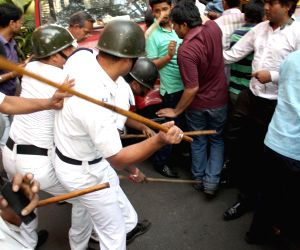 Lathi charge on BJP workers protesting against KMC scams