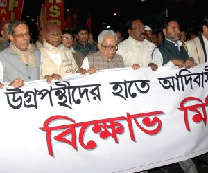 Left front demonstration against Assam violence