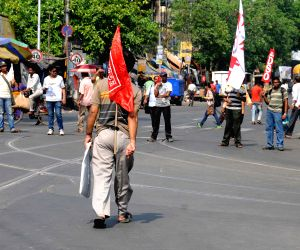 Leftist students block road