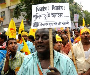 Physically disabled people demonstrate against WB Govt