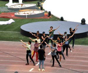 Preparations for IPL opening ceremony at Salt Lake Stadium