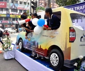 Students participate during a traffic awareness campaign