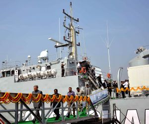 Rao Inderjit Singh during a programme to hand over Mauritius Offshore Patrol Vessel