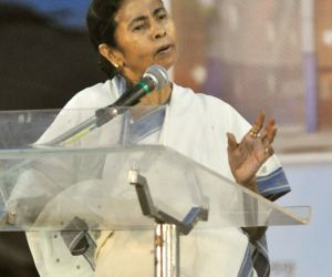Mamata Banerjee during a public meeting